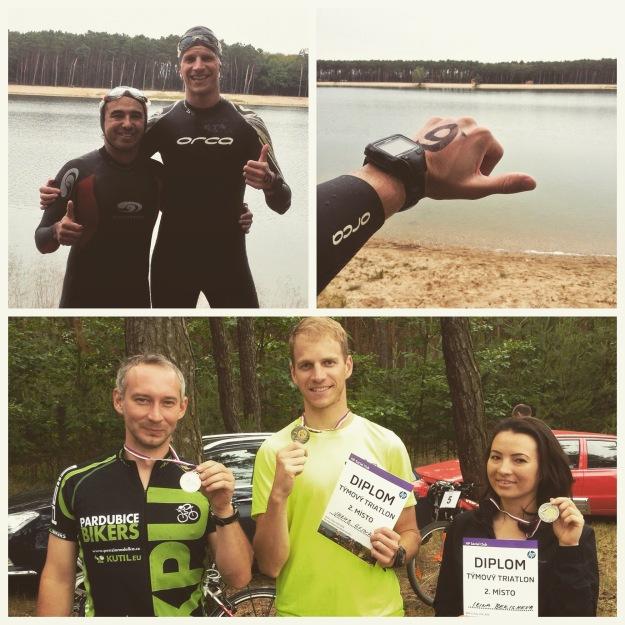 Nahoře: Wilfrido a já jsme šli ještě potrénovat do jezera. Dole: Lukáš, já a Irina se chlubíme plackou za druhé místo :)